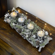 Mr Crimbo Silver Wood Twigs Tealight Candle Holder 40cm