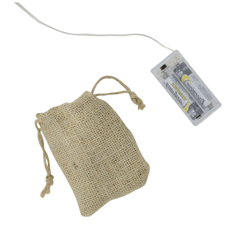 little hessian bag to hold battery compartment
