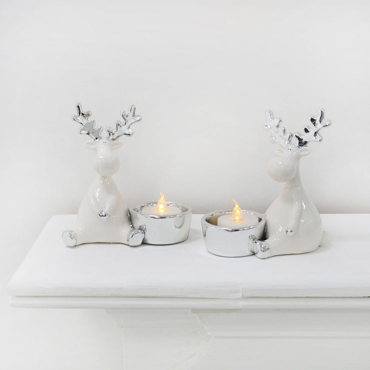 "Mr Crimbo Pair 5"" Reindeer Tealight Candle Holders Silver"
