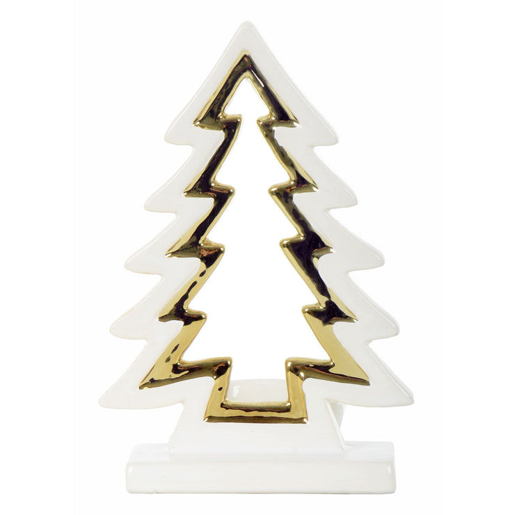 front view of christmas tree candle holder with gold edging