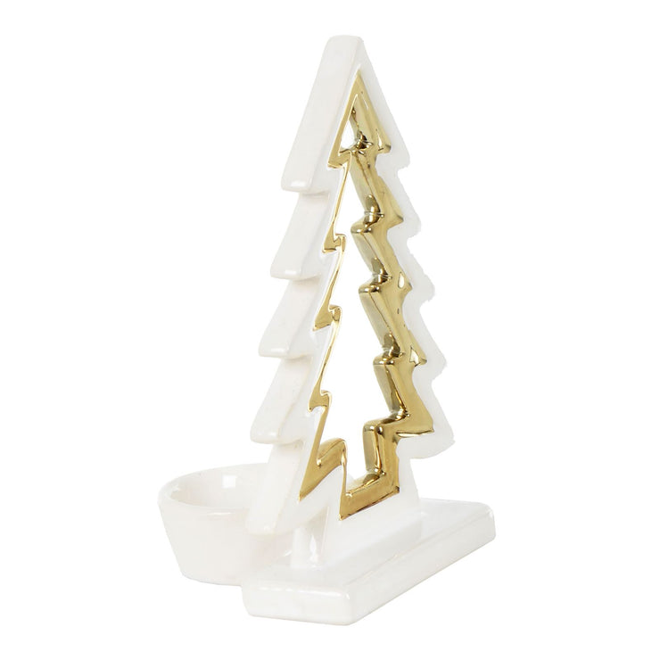 side view of christmas tree candle holder with tea light holder to the back