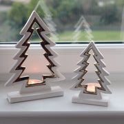 silver and gold christmas tree candle holder available in 10 or 15cm sizes