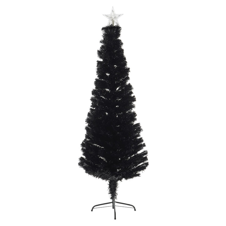 front view of black fibre optic pencil christmas tree