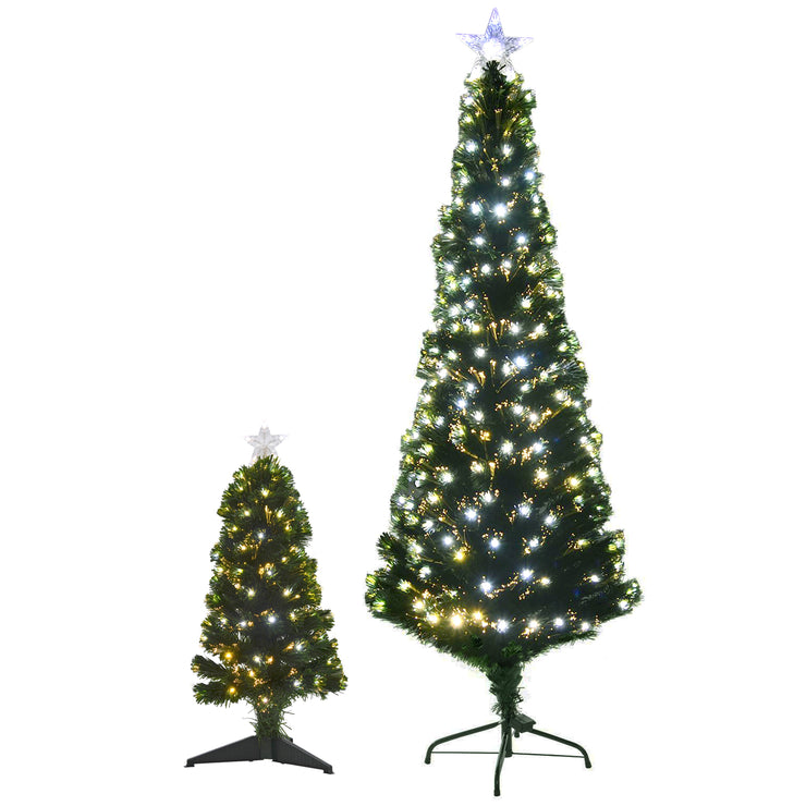 6ft and 80cm christmas tree with fibre optic lights and star toppers