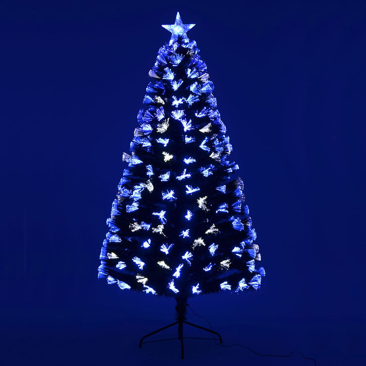 blue and white fibre optic christmas tree with star topper