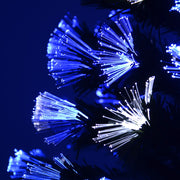 close up detail of blue and white fibre optic branch lights