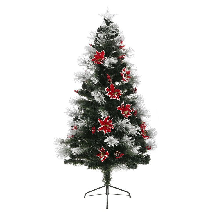 6ft decoration christmas tree with poinsettia and fibre optic lights
