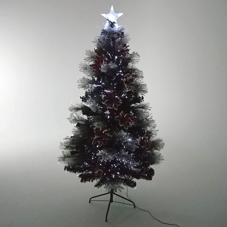 poinsettia decoration christmas tree with bright white fibre optic lights and star topper