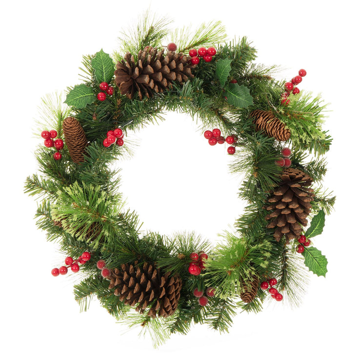 "20"" traditional christmas wreath with pine cones, holly leaves and berry clusters"