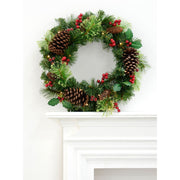 "20"" christmas wreath with pine cones on fireplace ledge"