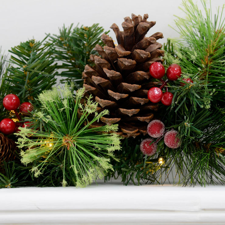 Mr Crimbo Pre-Lit Christmas Garland Pine Cones Holly Berry 6'