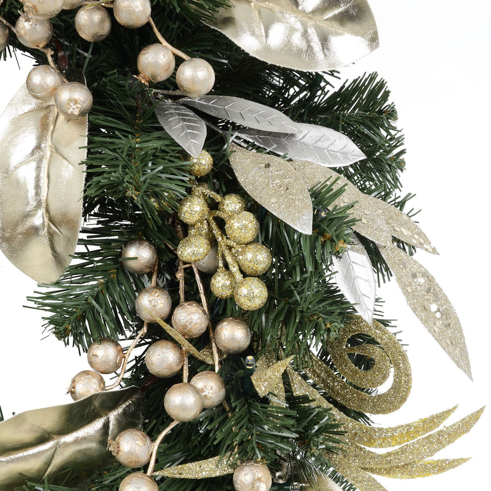 Mr Crimbo Pre-Lit Christmas Wreath Gold Silver Berries 24