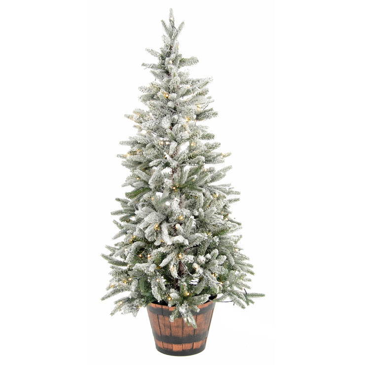 4.5ft pre lit potted christmas tree with warm white led lights, snow flocked branches and in a pine barrel plant pot