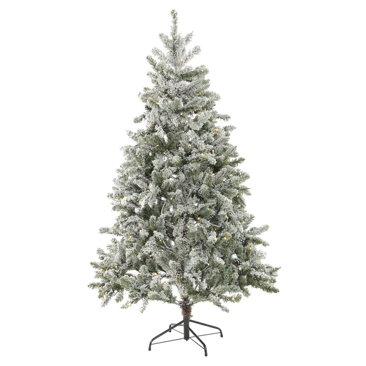 6ft luxury pre-lit christmas tree with snow flocked branches and pine cones