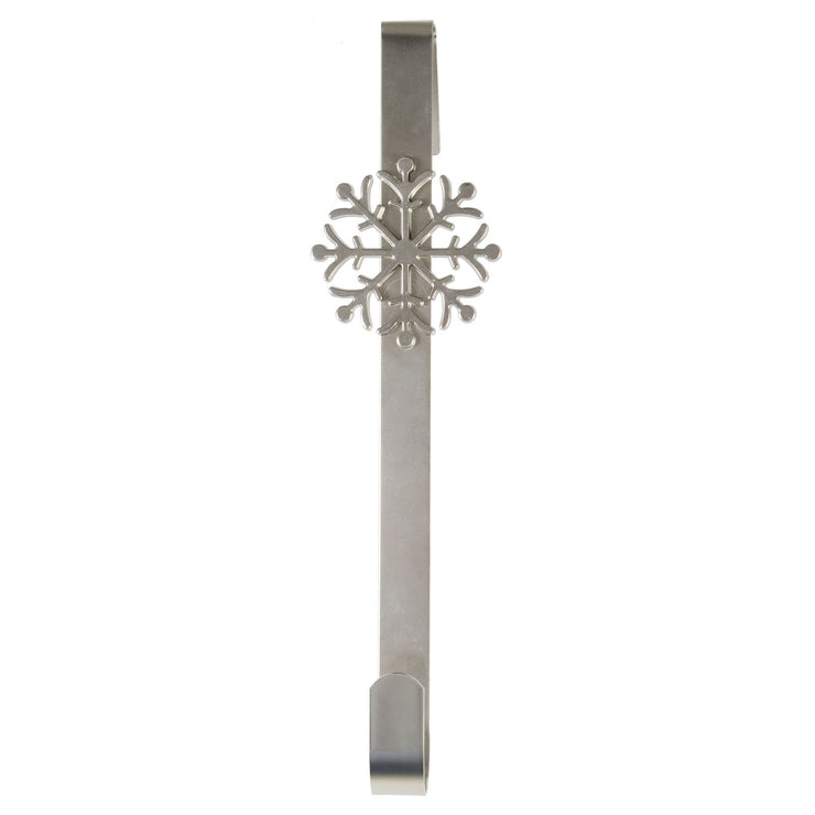 front view of silver metal snowflake wreath hanger