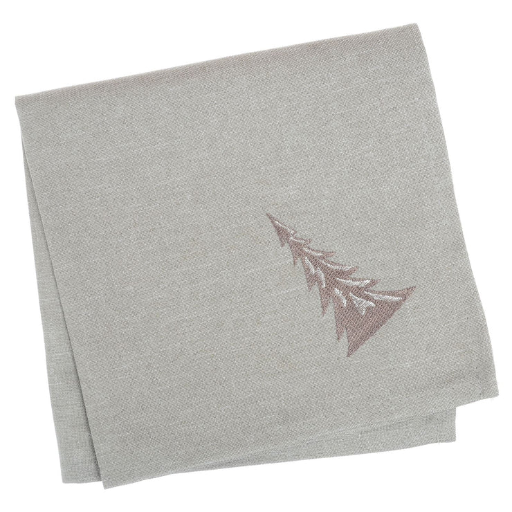 grey napkin set with nude embroidered christmas tree on corner