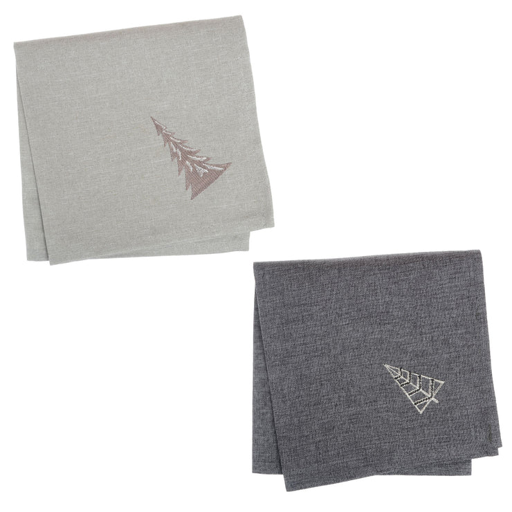 christmas tree napkins with embroidered tree in corner available in slate or light grey colours
