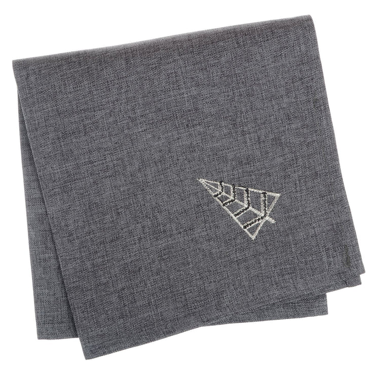 napkin set with contemporary christmas tree design on corner, finished in slate grey