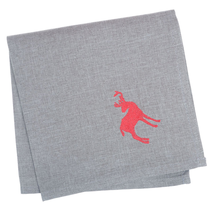 set of 4 grey christmas napkins with red embroidered reindeer in the corner