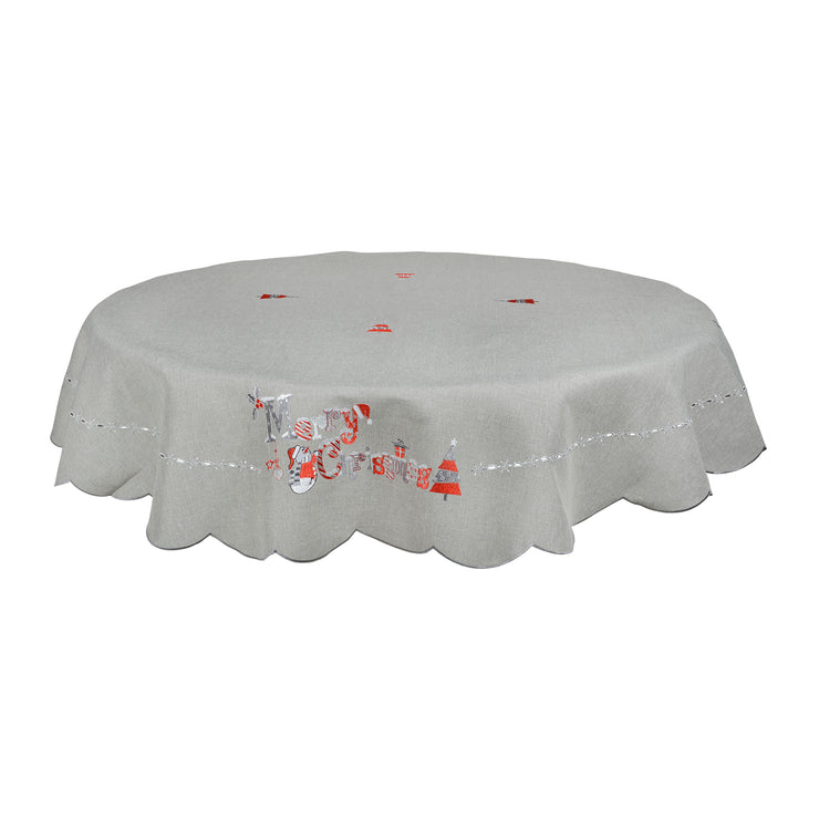 "70"" round grey table cloth with merry christmas novelty design"