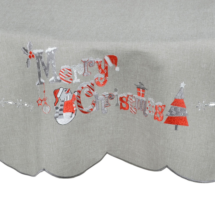 close up of embroidered merry christmas slogan featuring contemporary christmas tree and snowman design