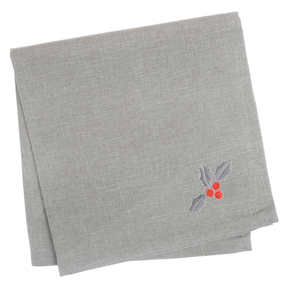 Mr Crimbo Grey Merry Christmas Embroidered Tablecloth/Napkin