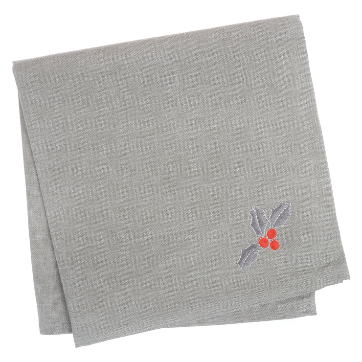 set of 4 grey napkins with grey and red holly berry and leave design on the corner