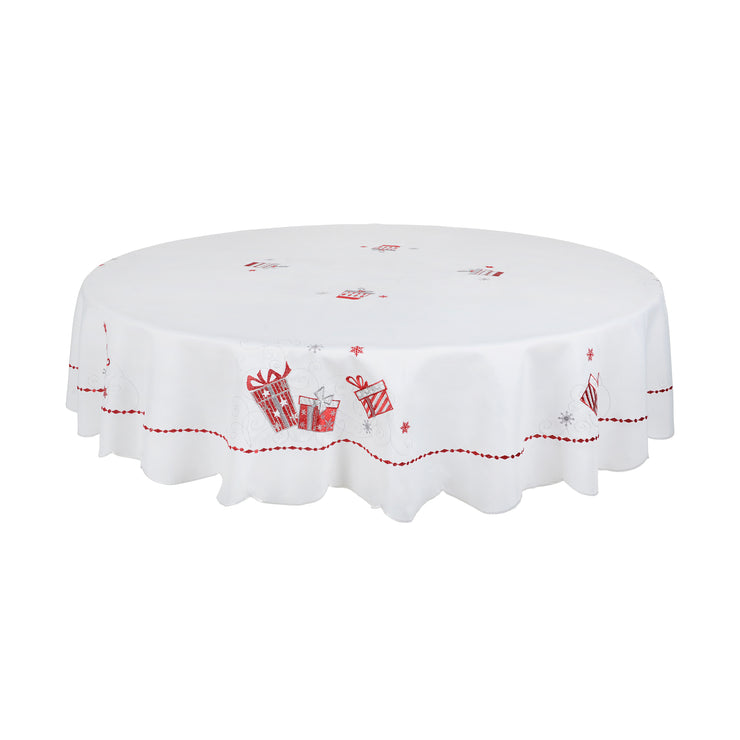 "70"" round table cover with red and silver embroidered gifts"
