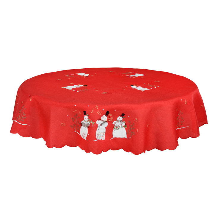"70"" round singing snowmen tablecloth"