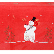 detail of snowman with little tree and polka dot design