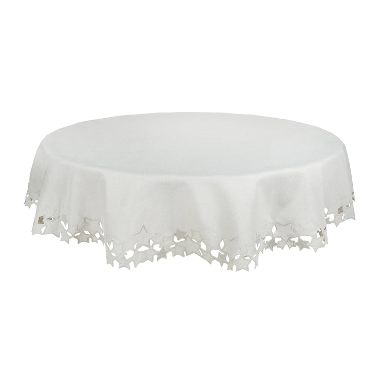 "70"" round tablecloth with star embroidered silver edging"