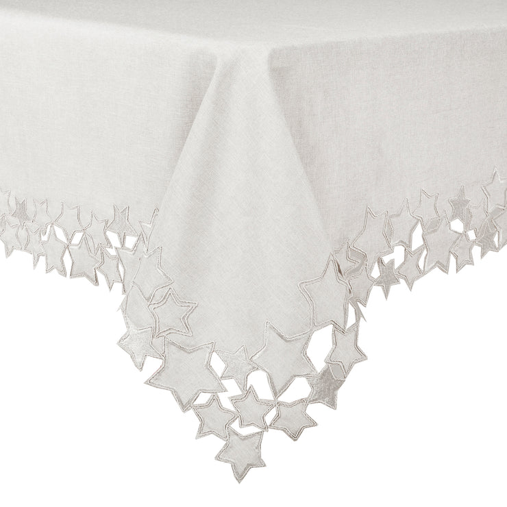 embroidered grey table cloth with star cut out edging