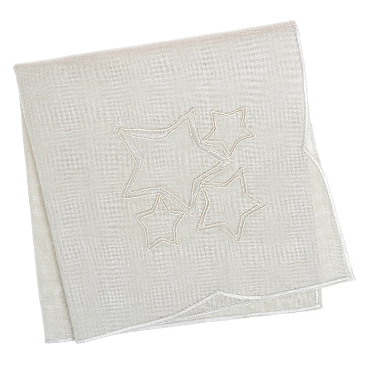 set of 4 napkins with 4 stars embroidered in the centre