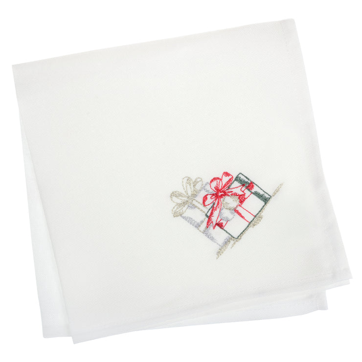 set of 4 white napkins with red, hold and green embroidered christmas gifts in the corner