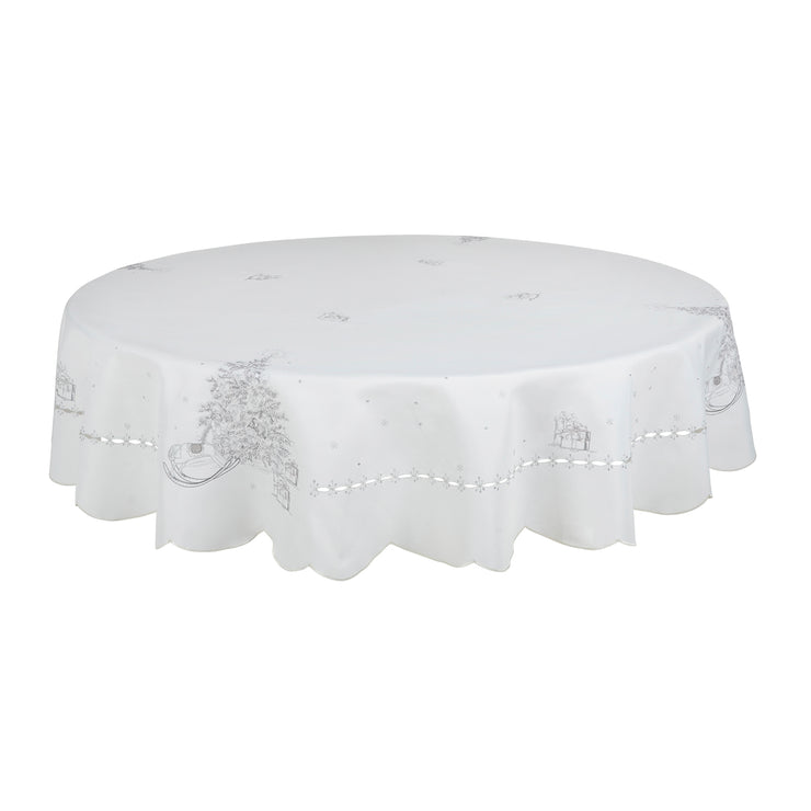 "70"" round table cover with black and white christmas tree and rocking horse design"