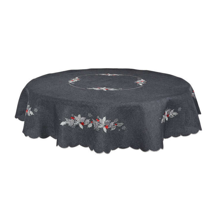 "70"" round slate grey table cover with intricate holly and berry leave embroidery"