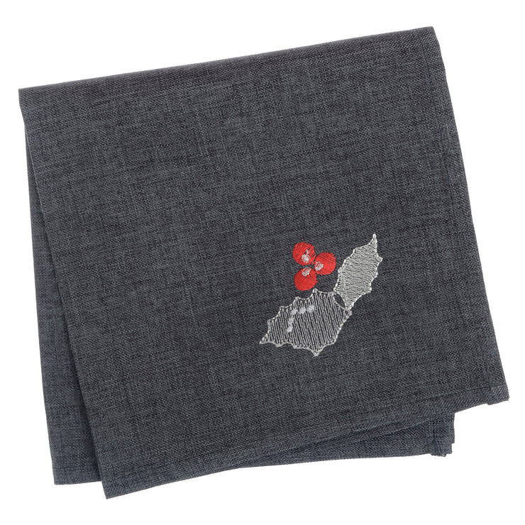 slate grey set of 4 napkins with holly berry and leave embroidered in the corner