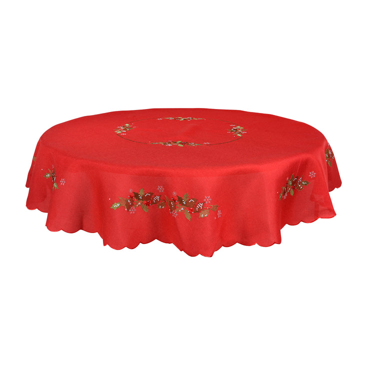 "70"" round red table cover with intricate holly and berry leave embroidery"