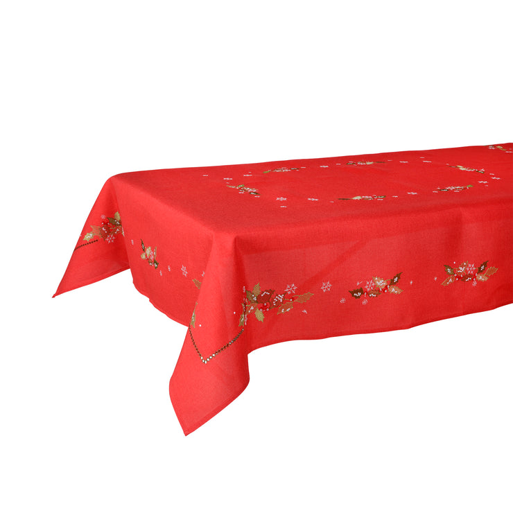 Mr Crimbo Holly & Berry Embroidered Tablecloth/Napkin