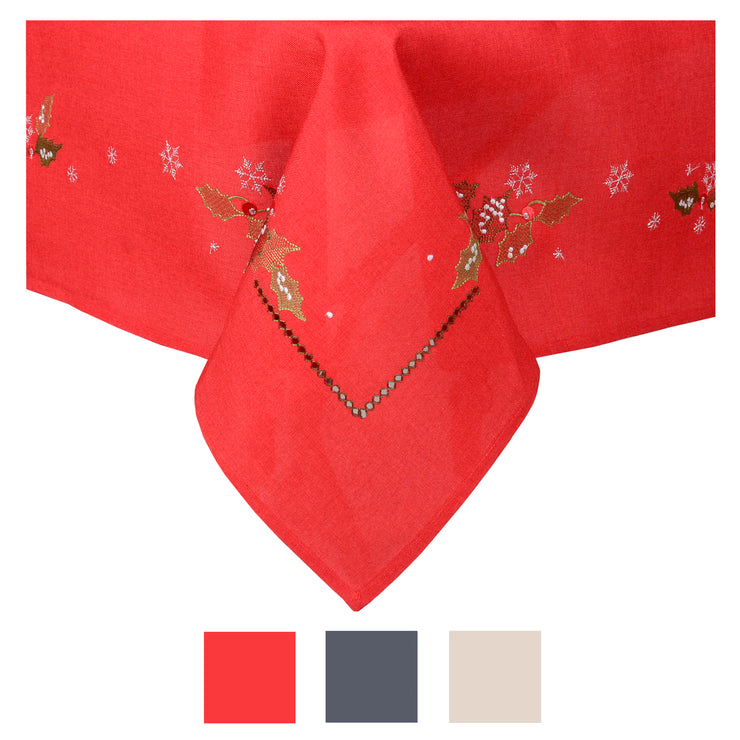 holly and berry embroidered christmas table cover available in red, slate or ivory colours