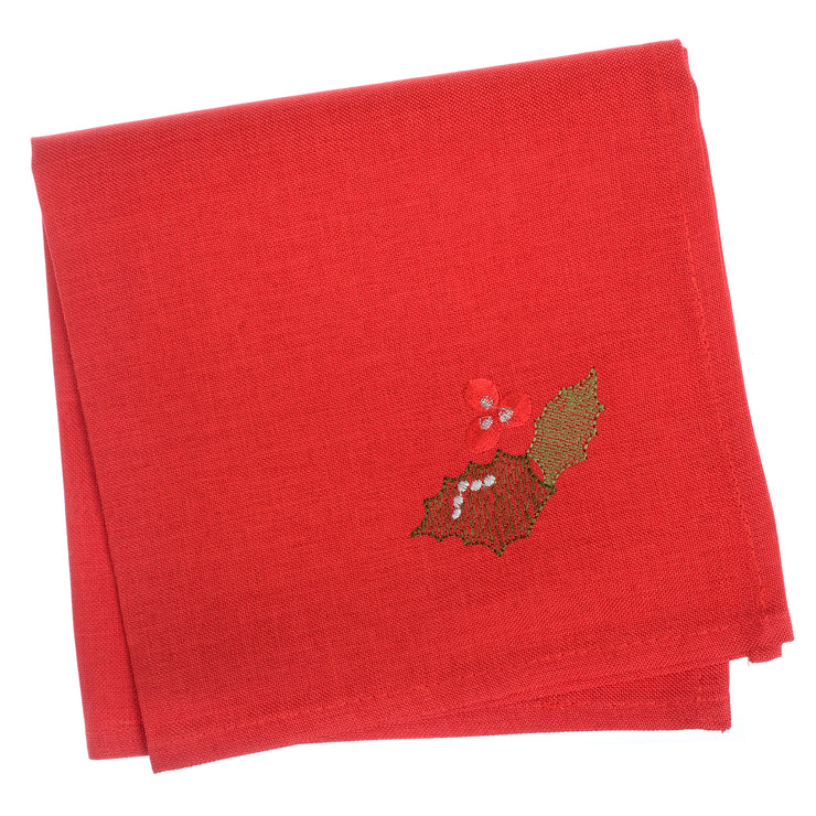 red set of 4 napkins with holly berry and leave embroidered in the corner