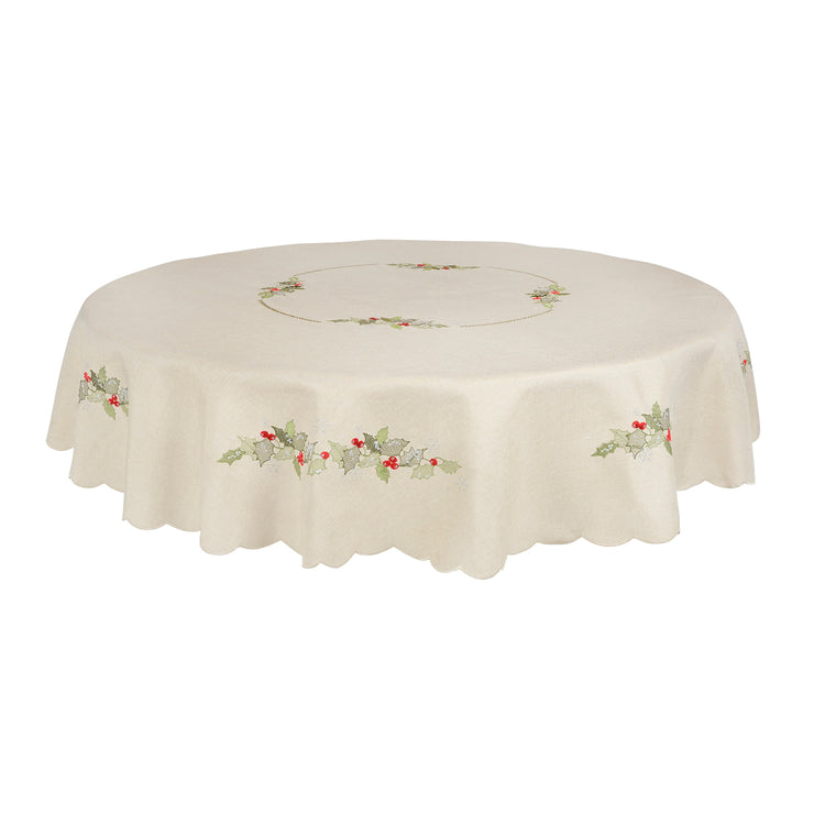 "70"" round ivory table cover with intricate holly and berry leave embroidery"