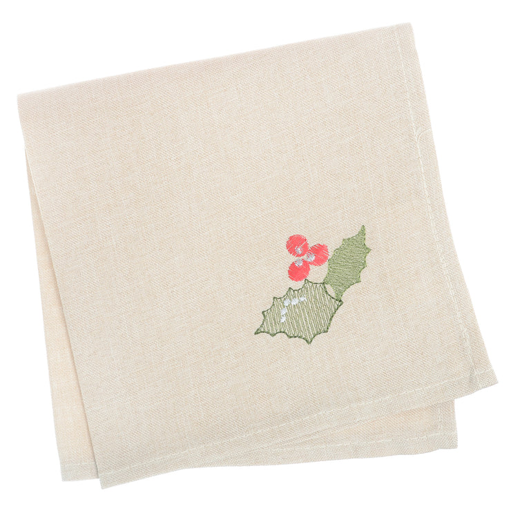 ivory set of 4 napkins with holly berry and leave embroidered in the corner