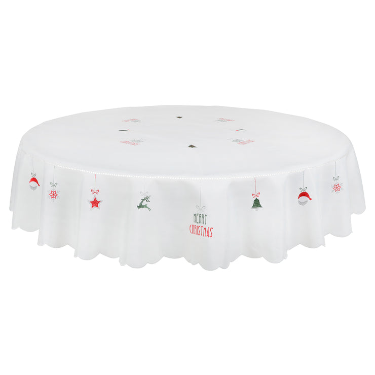 "70"" round merry christmas white table cover with ""merry christmas"" design"
