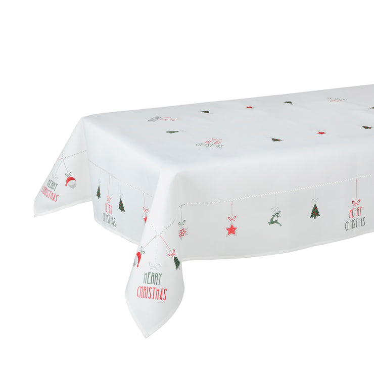 merry christmas white tablecover on table
