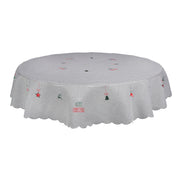 "70"" round grey merry christmas table cover with christmas symbol design"