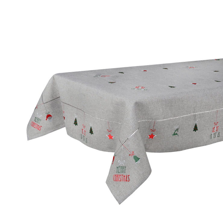 grey merry christmas table cover on long length table