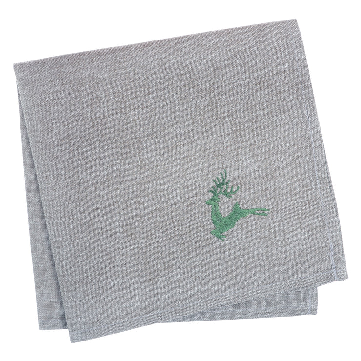 set of 4 grey christmas napkins with green embroidered reindeer in the corner