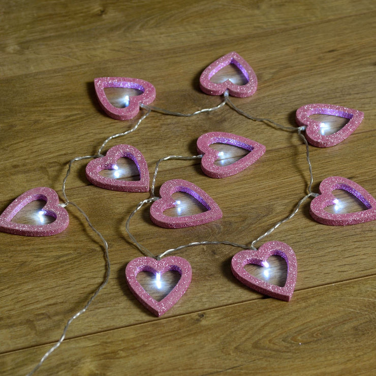 set of 10 pink glitter wooden heart string lights