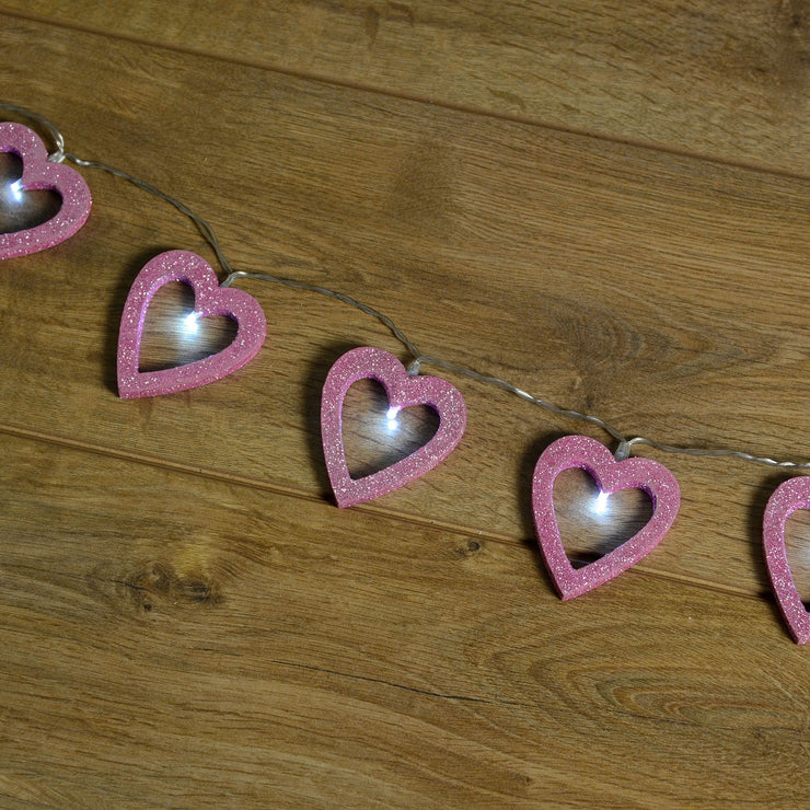 glitter heart string lights with bright white led light